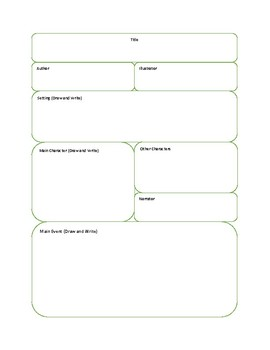 Parts of a Story Worksheet/Workbook Page