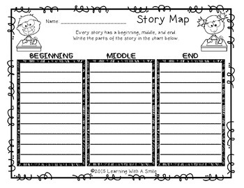 Story Map FREEBIE: Beginning, Middle, and End Graphic Organizers