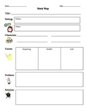 Story Map Graphic Organizer Scaffold with Visuals Beginning, Middle, and End