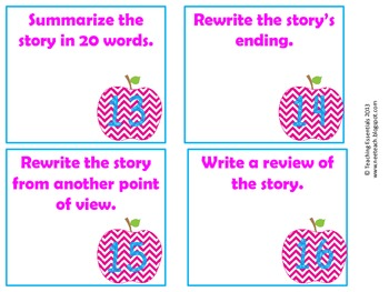 Story Map Task Cards - Pink Chevron Apples