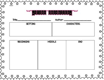 Story Organizer - Beginning, Middle, End, Setting, Characters
