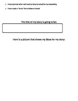 Story Planner for Summative Project in Storytelling Unit