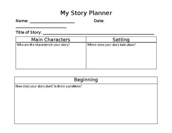 story planning template for elementary students by ms. Black Bedroom Furniture Sets. Home Design Ideas