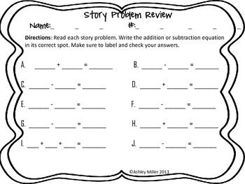 Story Problem Addition and Subtraction Center