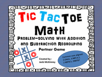 Story Problem Addition and Subtraction Tic Tac Toe Partner Game