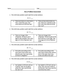 Story Problem Assessment (SOL 1.6)
