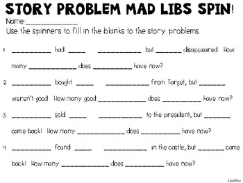 Story Problem Mad Libs Spin #2 Star Wars, Despicable Me, Beauty and Beast