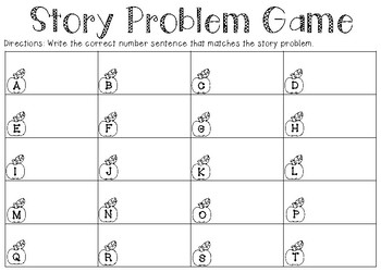Story Problem Matching Game