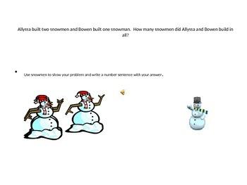 Story Problem Snowmen Addition Adding One
