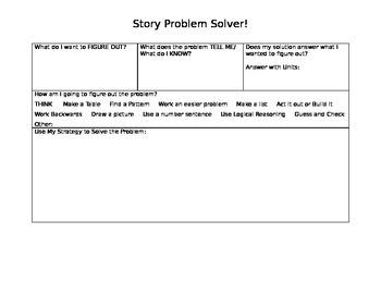 Story Problem Solver Graphic Organizer (Editable)