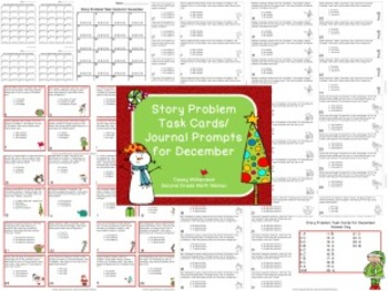 Story Problem Task Cards / Journal Prompts Bundle for August - May - 2nd Grade