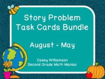 Story Problem Task Cards / Journal Prompts Bundle for Augu