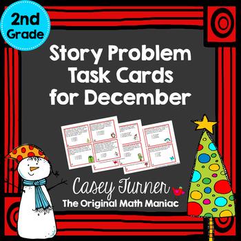 Story Problem Task Cards for December - 2nd Grade