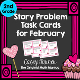 Story Problem Task Cards for February -  2nd Grade