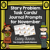 Story Problem Task Cards / Journal Prompts for November - 2nd Grade