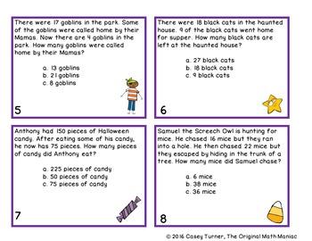 Story Problem Task Cards / Journal Prompts for October - 2nd Grade