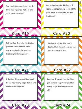 Story Problem Task Cards for Student Self Use in Centers