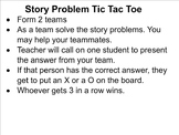 Story Problem Tic Tac Toe
