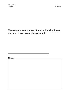 Story Problems 1st grade-1st qu. with all 9 problem types defined by CCSS