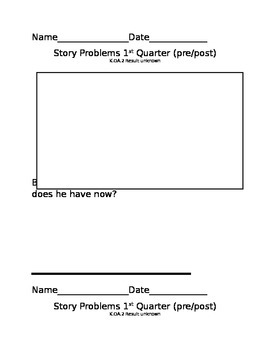 Story Problems 1st grade, 1st quarter-assessment