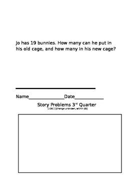 Story Problems 1st grade, 3rd quarter-assessment