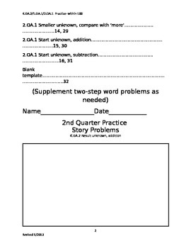 Story Problems 2nd grade, 2nd quarter