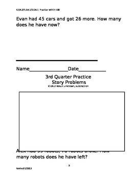 Story Problems 2nd grade, 3rd quarter