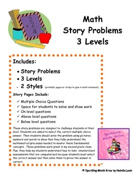 Story Problems~Adding and Subtracting~3 Levels
