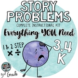 Story Problems - 3rd Grade TEKS 3.4K - 1 & 2 step with multiplication & division