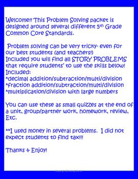 Story Problems- 5th grade (Common Core)