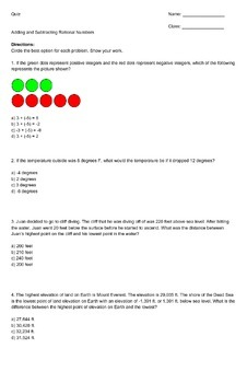 Story Problems: Adding & Subtracting Rational Numbers