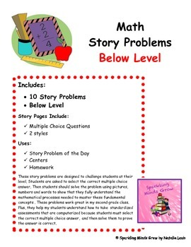 Story Problems~Adding and Subtracting~Below Level