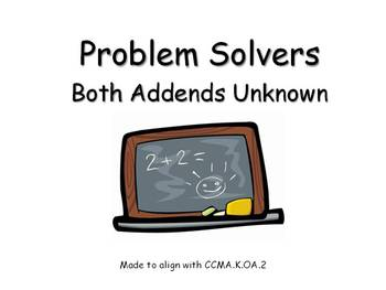 Story Problems Both Addends Unknown