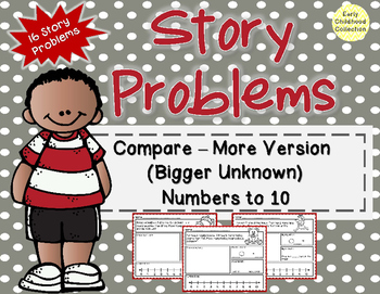 Story Problems-Compare:Bigger Unknown {more version} Word Problems