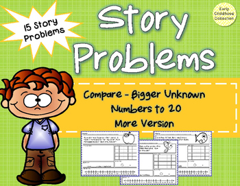 Story Problems - Compare:Bigger Unknown {more version} to 20 Word Problems