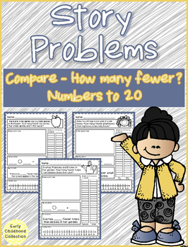 Story Problems - Compare Difference Unknown {How many fewer?} Word Problems