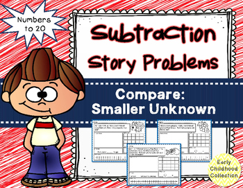 Story Problems - Compare Smaller Unknown to 20: Subtractio