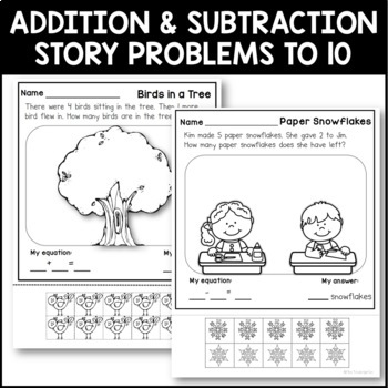 Story Problems Seasonal bundle {addition & subtraction to 10}