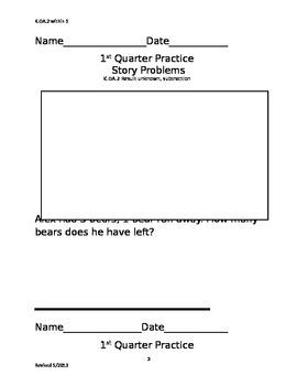 Story Problems Kinder, 1st quarter
