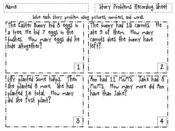 Story Problems Matching Game