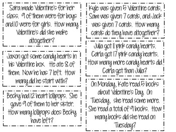 Story Problems Matching Game-February Edition