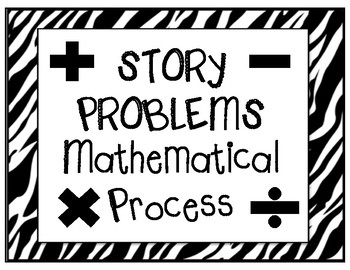 Story Problems Mathematical Process Black & White (Classroom Tool & Decor Kit)