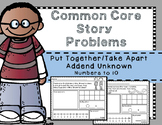 Story Problems-Put Together / Take Apart:Addend Unknown {Part-Part-Whole} to 10