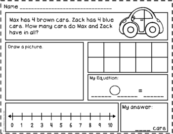 Story Problems- Put Together / Take Apart: Total Unknown {Part-Part-Whole} to 10