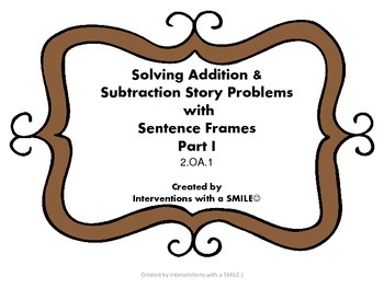 Story Problems Sentence Frames