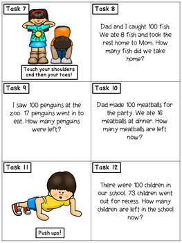 Story Problems Subtracting from 100: Math Task Cards - Exercise Scoot!