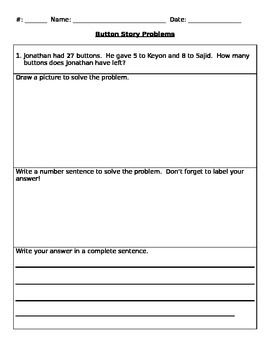 Story Problems / Word Problems Addition and Subtraction