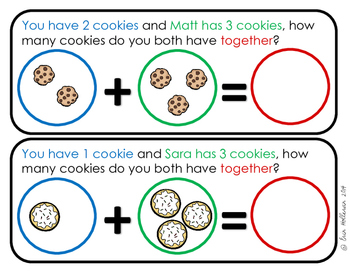 Story Problems for Beginners - Color Coded Story Problems with sums up to 5
