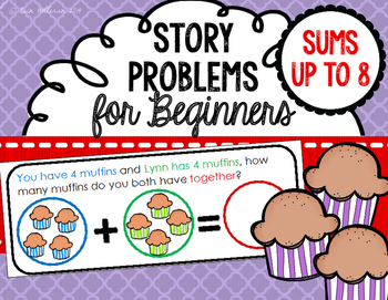 Story Problems for Beginners - Color Coded Story Problems with sums up to 8