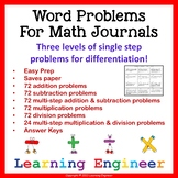 2nd Grade Addition Word Problems & Subtraction Word Problems
